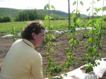 Jeremy shows me some of his hops varietals.