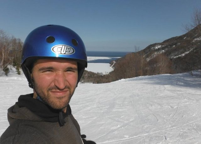 Yours truly, about to go for a run down the hill. (Helmets were mandatory)